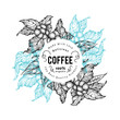 Coffee tree vector illustration. Vintage coffee background. Hand drawn engraved style illustration.