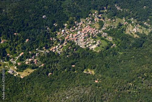 aerial of Marzio mountain village, Varese, Italy