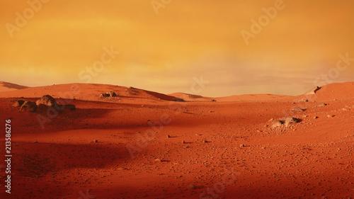 Fotobehang Rood traf. landscape on planet Mars, scenic desert scene on the red planet