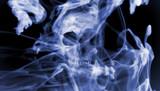 Skull into the smoke. Digital illustration art. - 213587068