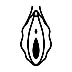 Human vagina, vaginal opening or female reproductive sex organ line art vector icon for apps and websites
