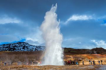 Strokkur geysir eruption in Iceland. © tawatchai1990