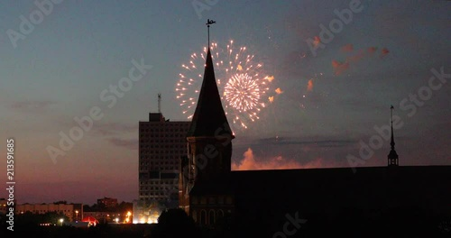 Fireworks over the Cathedral in Kaliningrad at the end of the World Cup 2018