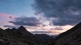 Time lapse sunset twilight on the Alps. Glaciers and mountain peaks Massif des Ecrins, over 4000 m, France - 213592606