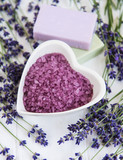 Heart-shaped bowl with sea salt, soap and fresh lavender flowers - 213596888