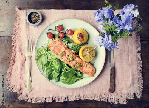 Grilled salmon food photography recipe idea - 213600643