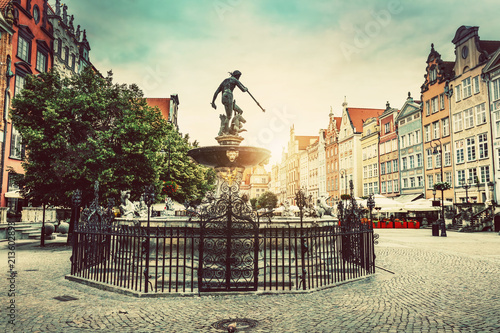 Neptune's fountain in the Old Town of Gdansk. - 213602893