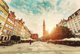 Dlugi Targ in Gdansk, Poland during sunrise.