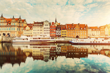 Building facades of Old Town in Gdansk and Motlawa river