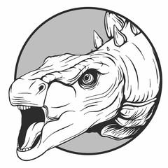 Illustrazione della testa di un dinosauro fatta in stile vettoriale © deanz