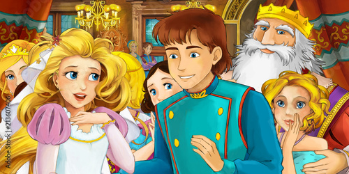 cartoon scene with married couple - king and queen - illustration for children - 213607406