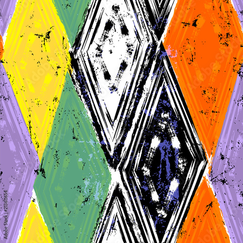 Fotobehang Abstract met Penseelstreken seamless geometric pattern background, retro/vintage style, with rhombus, stripes, strokes and splashes