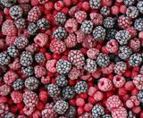 closeup of frozen berries  - 213614069