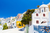 View of Thera the most beautiful village of Santorini island in Greece. - 213616470