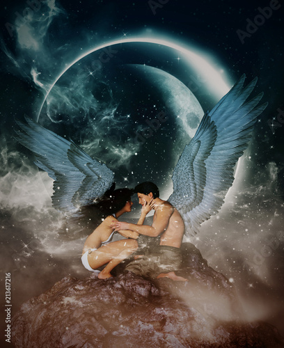 3d illustration of an Angels in heaven land,Mixed media for book illustration or book cover - 213617216