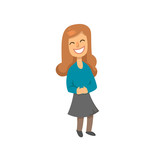 Funny laughing girl character with long ginger hair. Schoolgirl with wide smile on her face. Flat vector illustration. Isolated on white background. - 213620687