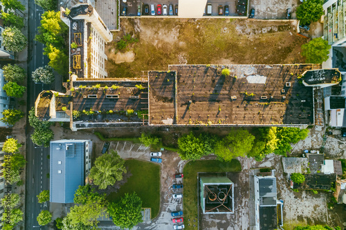 Poster Old abandoned building in Kaunas, Lithuania, aerial view
