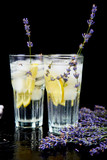 Lavender lemonade with lemon and ice - 213622269