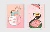 Hand drawn vector abstract graphic cartoon summer time flat illustrations cards template collection set with beach ,sunset,watermelon and tropical toucan bird isolated on white background - 213622296