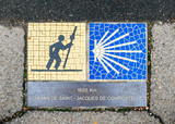 Camino de Santiago pilgrimage sign in Chartres, France. The sign reads: 1625 km Way of St James. - 213624400