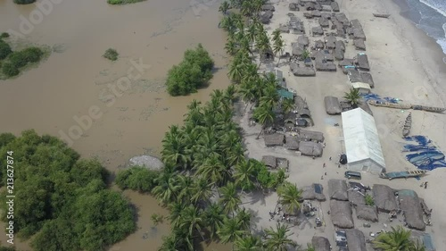 Wall mural Aerial footage of beach in Accra africa