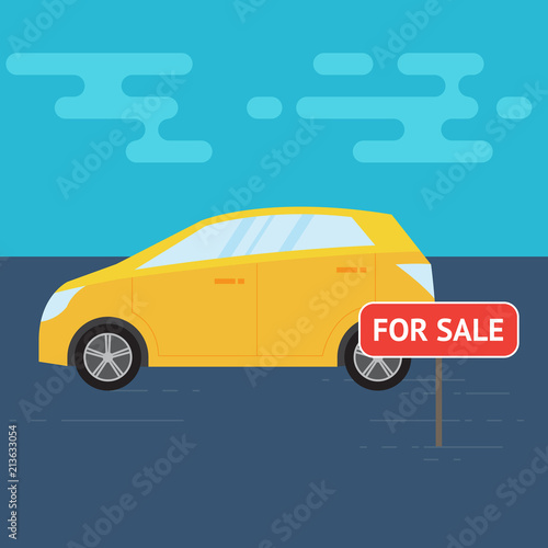 Fotobehang Auto Yellow car and sale sign. Vector illustration.