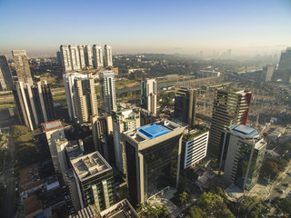 Aerial view of big city, Moncao neighbohood, Sao Paulo Brazil, South America