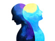 Leinwandbild Motiv bipolar disorder mind mental health connection watercolor painting illustration hand drawing design symbol