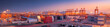Leinwandbild Motiv Industrial port at dawn
