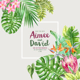 Wedding invitation over tropical background - 213650405