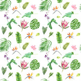 Floral seamless tropical pattern with exotic flowers and leaves - 213650675