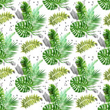 Watercolor jungle bouquettes with grunge scribbles and dots seamless pattern - 213650852