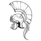 Galea. Roman Imperial helmet with crest tipically worn by centurion. Side view. Heraldry element. Black a nd white drawing isolated on white background. EPS10 vector illustration - 213652248