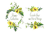 Set with illustration of yellow orchid . Round frame and small bouquets for decoration and your design. Markers' and watercolor's art. - 213655613
