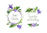 Set with illustration of  Purple Clematis flower, hydrangea and leaves. Round frame and small bouquets for decoration and your design. Markers' and watercolor's art. - 213655663