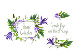 Set with illustration of  Purple Clematis flower, hydrangea and leaves. Frame and small bouquets for decoration and your design. Markers' and watercolor's art. - 213655693