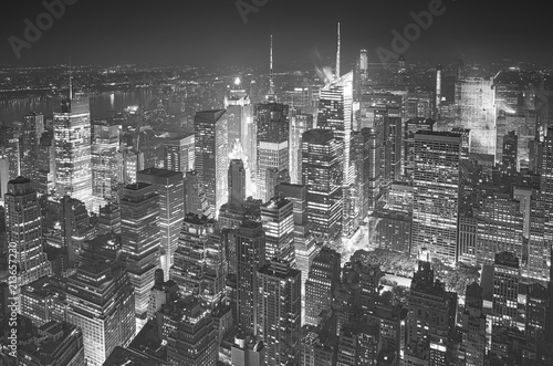 Aluminium New York Black and white aerial picture of Manhattan, New York City, USA.