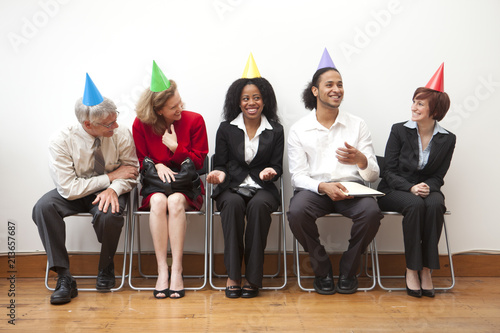Foto Murales Office workers with Party Hats