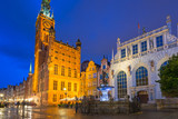 Architecture of the Long Lane in Gdansk at rainy night, Poland - 213663681