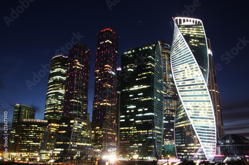 Foto Spatwand Moskou Night illumination of Moscow city, Moscow