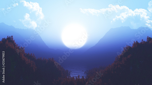 3D landscape with pine tree forest and mountains