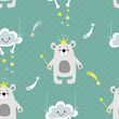 seamless background of vector cheerful figures of bears, clouds and stars - 213682257