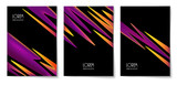Vibrant gradient abstract shapes and copy space on black vertical background. Set of design template of flyer, banner, cover, poster in A4 size. Vector illustration. - 213685045