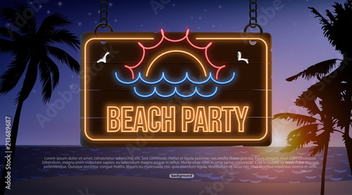 beach neon banner background eps 10 sea