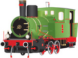 A Vintage Green Red and Black Six Wheeled Steam Tank Locomotive with Brass Fittings isolated on white - 213696624