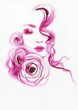 beautiful woman. fashion illustration. watercolor painting - 213698607