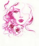 beautiful woman. fashion illustration. watercolor painting - 213699661