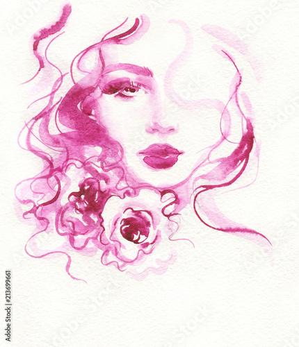 Canvas Anna I. beautiful woman. fashion illustration. watercolor painting