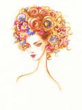 beautiful woman. fashion illustration. watercolor painting - 213700069