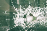 crack of glass window for background - 213713422